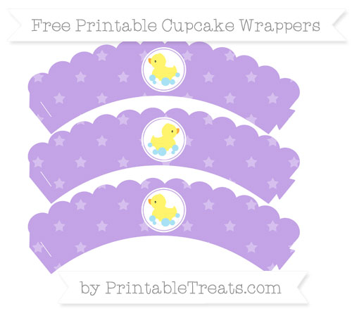 Free Pastel Purple Star Pattern Baby Duck Scalloped Cupcake Wrappers