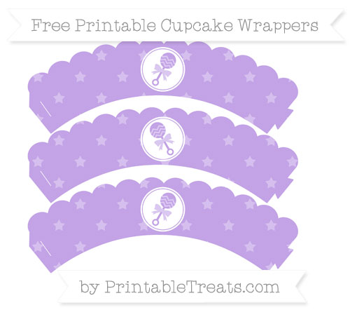 Free Pastel Purple Star Pattern Baby Rattle Scalloped Cupcake Wrappers