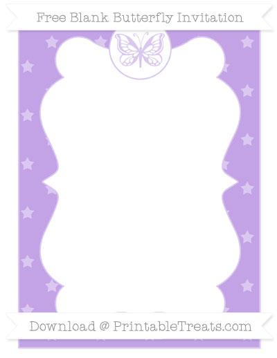 Free Pastel Purple Star Pattern Blank Butterfly Invitation