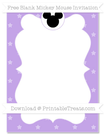 Free Pastel Purple Star Pattern Blank Mickey Mouse Invitation
