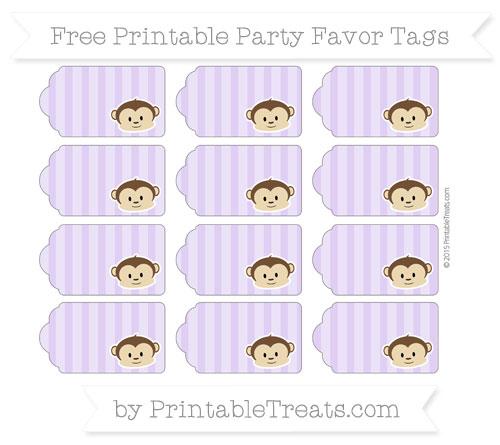 Free Pastel Purple Striped Boy Monkey Party Favor Tags