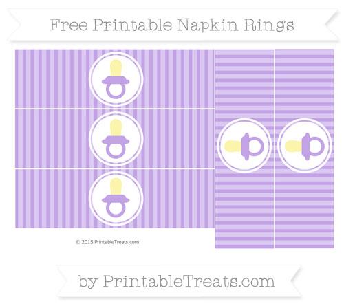 Free Pastel Purple Thin Striped Pattern Baby Pacifier Napkin Rings