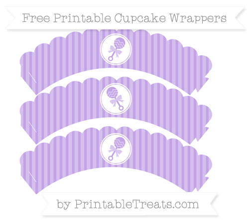 Free Pastel Purple Thin Striped Pattern Baby Rattle Scalloped Cupcake Wrappers