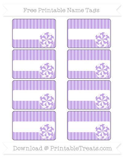 Free Pastel Purple Thin Striped Pattern Cheer Pom Pom Tags