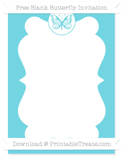 Free Pastel Teal Blank Butterfly Invitation