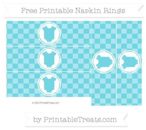 Free Pastel Teal Checker Pattern Baby Onesie Napkin Rings