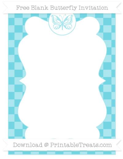 Free Pastel Teal Checker Pattern Blank Butterfly Invitation