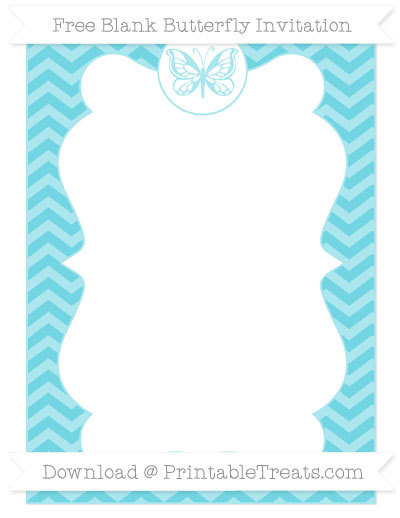 Free Pastel Teal Chevron Blank Butterfly Invitation