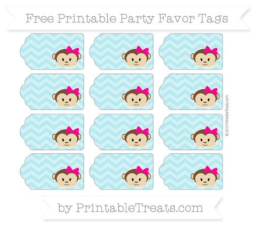 Free Pastel Teal Chevron Girl Monkey Party Favor Tags