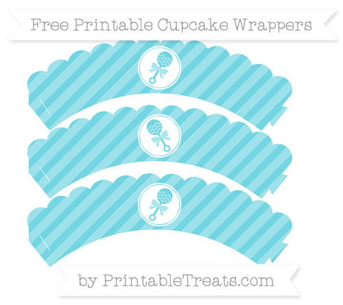 Free Pastel Teal Diagonal Striped Baby Rattle Scalloped Cupcake Wrappers