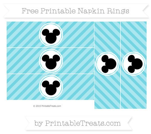 Free Pastel Teal Diagonal Striped Mickey Mouse Napkin Rings