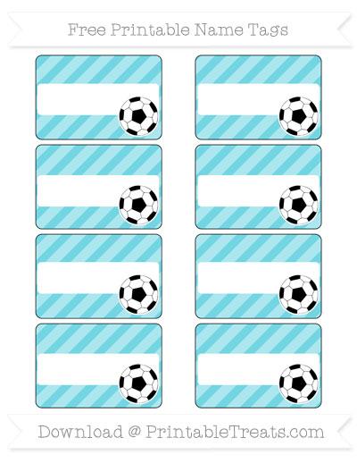 Free Pastel Teal Diagonal Striped Soccer Name Tags
