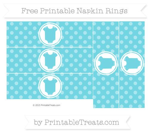 Free Pastel Teal Dotted Pattern Baby Onesie Napkin Rings
