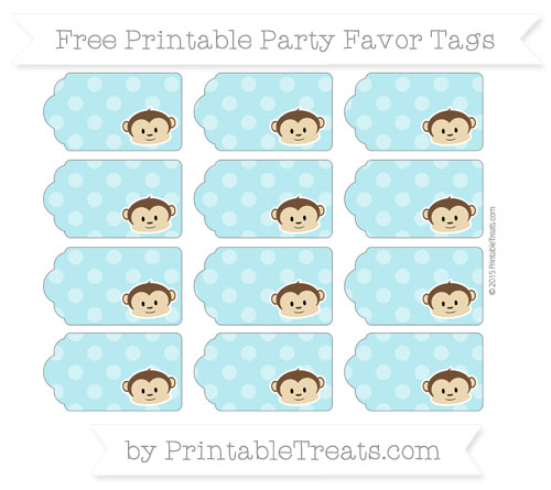 Free Pastel Teal Dotted Pattern Boy Monkey Party Favor Tags