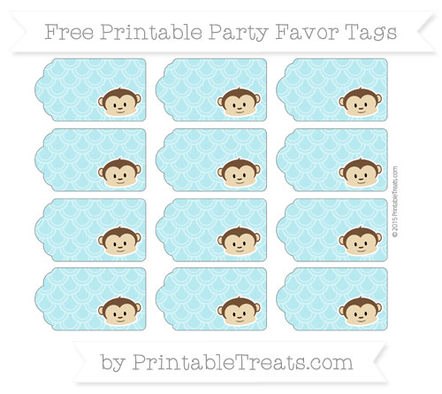 Free Pastel Teal Fish Scale Pattern Boy Monkey Party Favor Tags