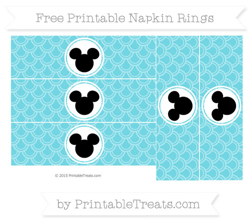 Free Pastel Teal Fish Scale Pattern Mickey Mouse Napkin Rings