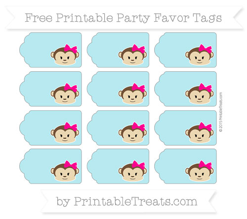 Free Pastel Teal Girl Monkey Party Favor Tags