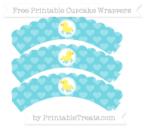 Free Pastel Teal Heart Pattern Baby Duck Scalloped Cupcake Wrappers