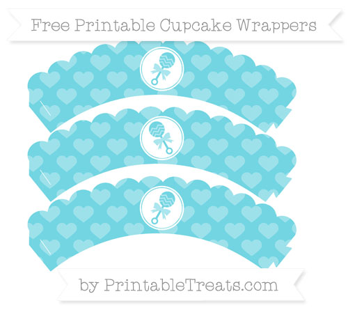 Free Pastel Teal Heart Pattern Baby Rattle Scalloped Cupcake Wrappers
