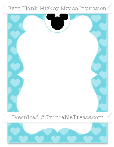Free Pastel Teal Heart Pattern Blank Mickey Mouse Invitation