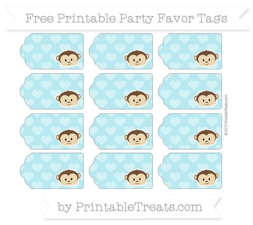 Free Pastel Teal Heart Pattern Boy Monkey Party Favor Tags