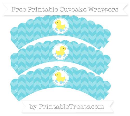 Free Pastel Teal Herringbone Pattern Baby Duck Scalloped Cupcake Wrappers