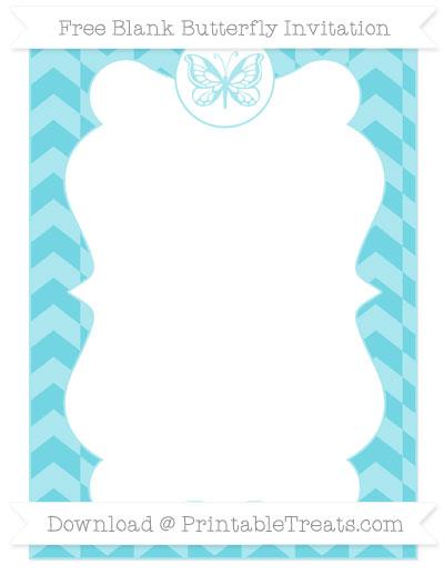 Free Pastel Teal Herringbone Pattern Blank Butterfly Invitation