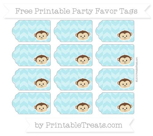 Free Pastel Teal Herringbone Pattern Boy Monkey Party Favor Tags