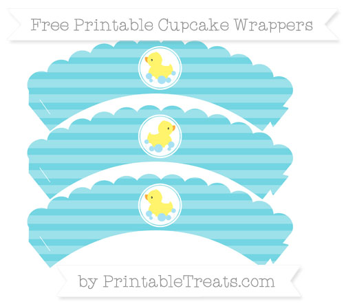 Free Pastel Teal Horizontal Striped Baby Duck Scalloped Cupcake Wrappers