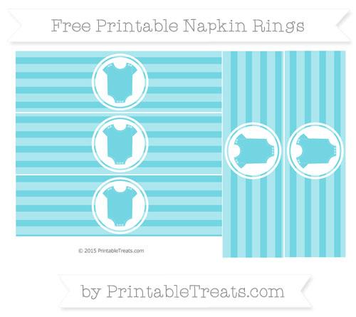 Free Pastel Teal Horizontal Striped Baby Onesie Napkin Rings