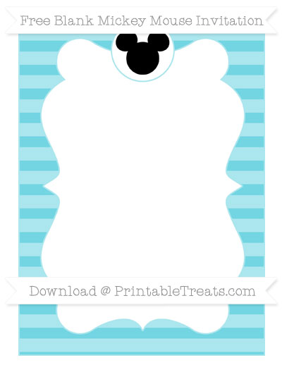Free Pastel Teal Horizontal Striped Blank Mickey Mouse Invitation