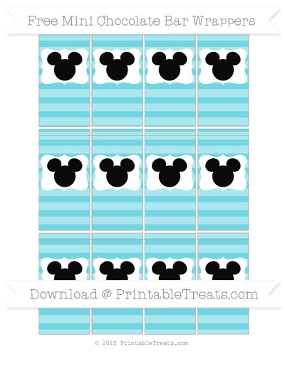 Free Pastel Teal Horizontal Striped Mickey Mouse Mini Chocolate Bar Wrappers