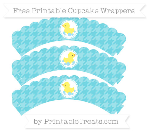 Free Pastel Teal Houndstooth Pattern Baby Duck Scalloped Cupcake Wrappers