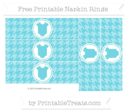 Free Pastel Teal Houndstooth Pattern Baby Onesie Napkin Rings