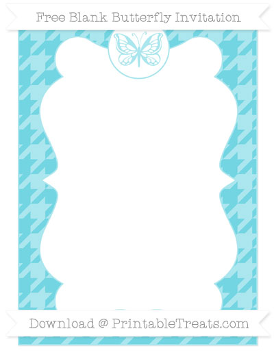 Free Pastel Teal Houndstooth Pattern Blank Butterfly Invitation