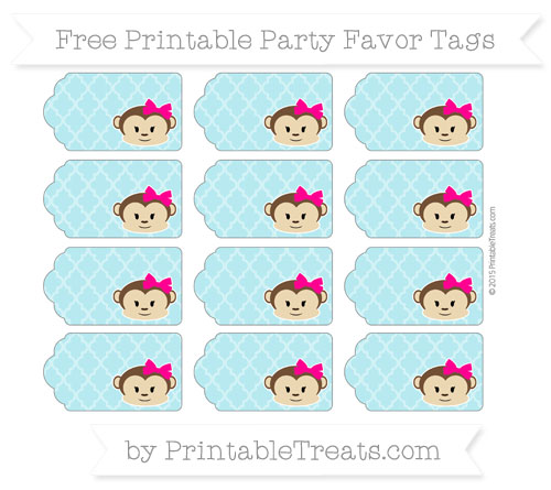 Free Pastel Teal Moroccan Tile Girl Monkey Party Favor Tags