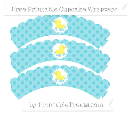 Free Pastel Teal Polka Dot Baby Duck Scalloped Cupcake Wrappers