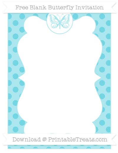 Free Pastel Teal Polka Dot Blank Butterfly Invitation