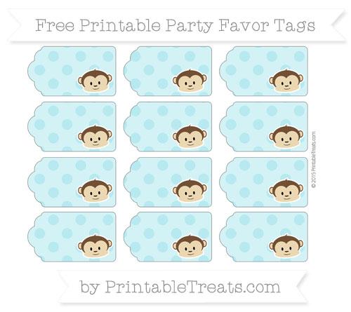 Free Pastel Teal Polka Dot Boy Monkey Party Favor Tags