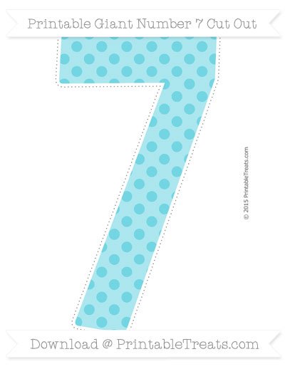 Free Pastel Teal Polka Dot Giant Number 7 Cut Out
