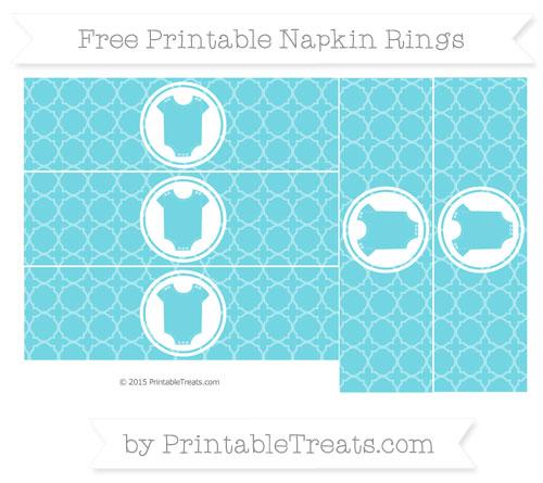 Free Pastel Teal Quatrefoil Pattern Baby Onesie Napkin Rings