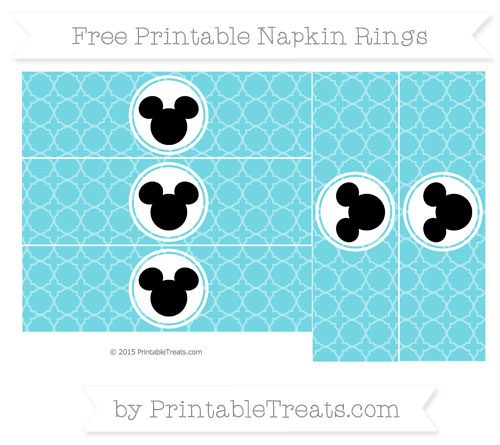 Free Pastel Teal Quatrefoil Pattern Mickey Mouse Napkin Rings