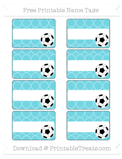 Free Pastel Teal Quatrefoil Pattern Soccer Name Tags