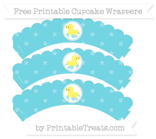 Free Pastel Teal Star Pattern Baby Duck Scalloped Cupcake Wrappers