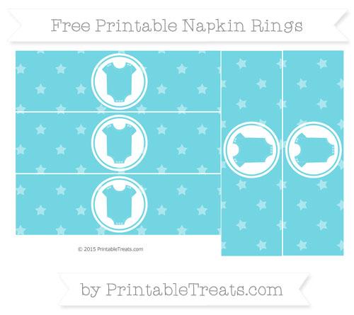 Free Pastel Teal Star Pattern Baby Onesie Napkin Rings
