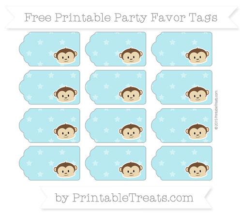Free Pastel Teal Star Pattern Boy Monkey Party Favor Tags