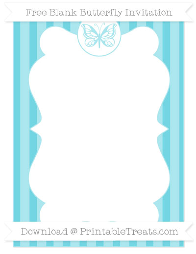 Free Pastel Teal Striped Blank Butterfly Invitation