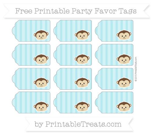 Free Pastel Teal Striped Boy Monkey Party Favor Tags