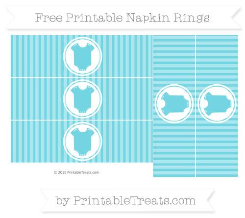 Free Pastel Teal Thin Striped Pattern Baby Onesie Napkin Rings