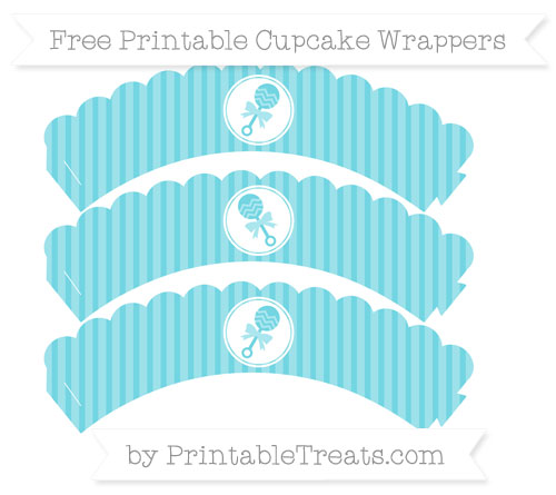 Free Pastel Teal Thin Striped Pattern Baby Rattle Scalloped Cupcake Wrappers